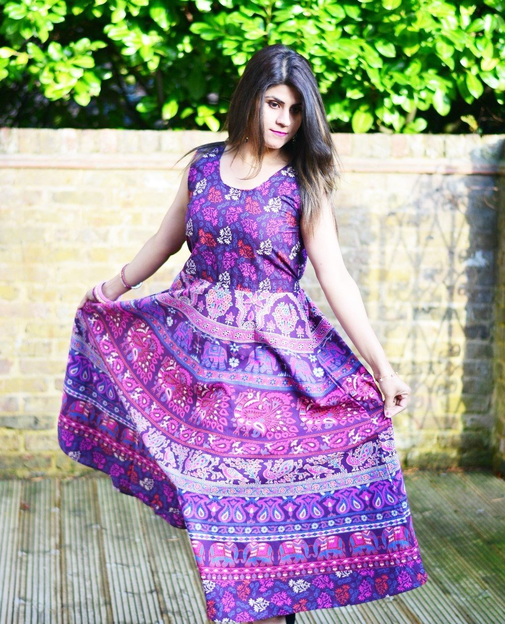 Nature Print Handmade Maxi Dress