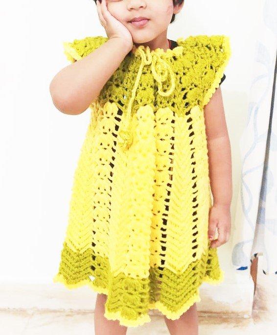 Hand Crocheted Lemon Yellow and Sea Green Baby Dress