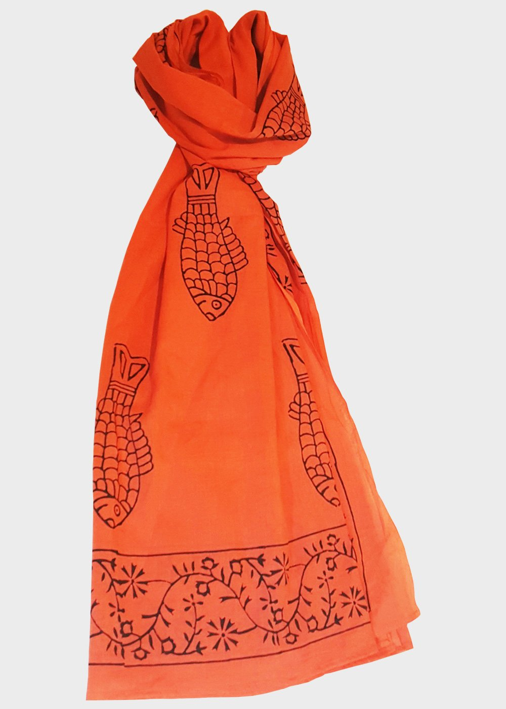 Fishy prints cotton scarf
