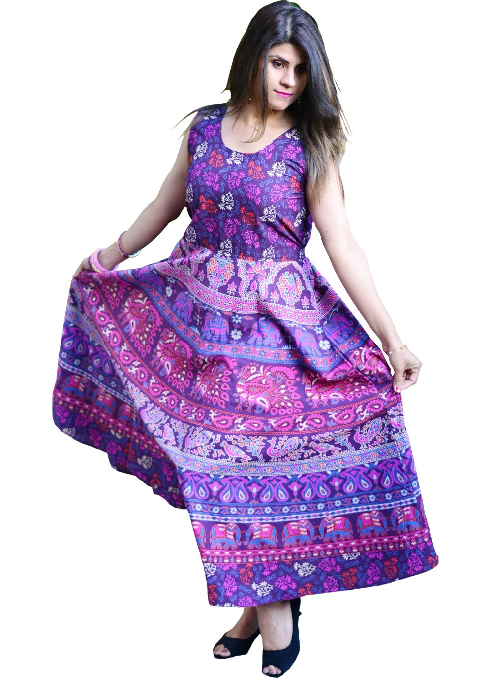 Nature Print Handmade Maxi Dress
