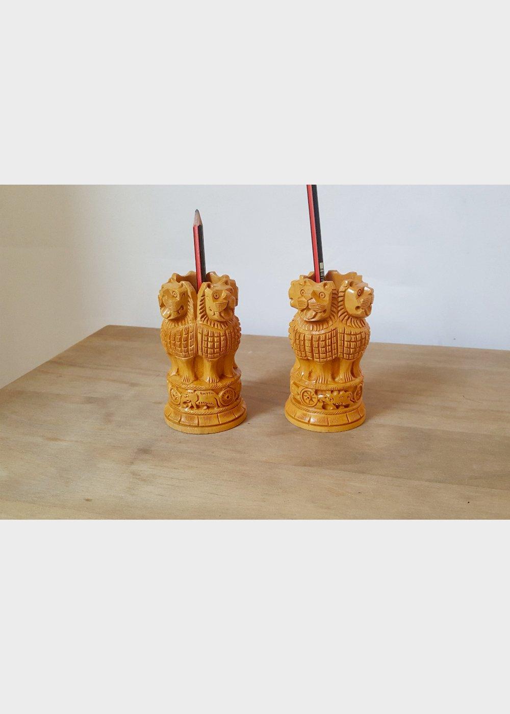 Hand Carved National Symbol Ashok Stambh Pen Pot