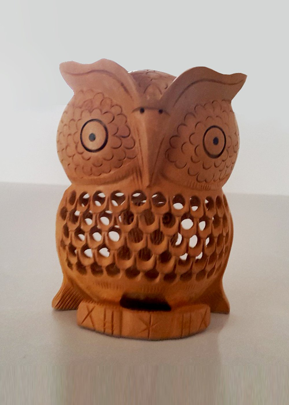 Hand Carved wooden Natural Owl