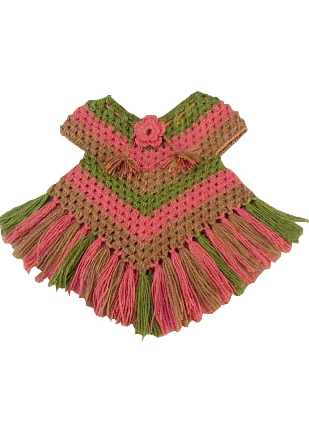 Hand Crocheted Poncho Sea Green and Peach