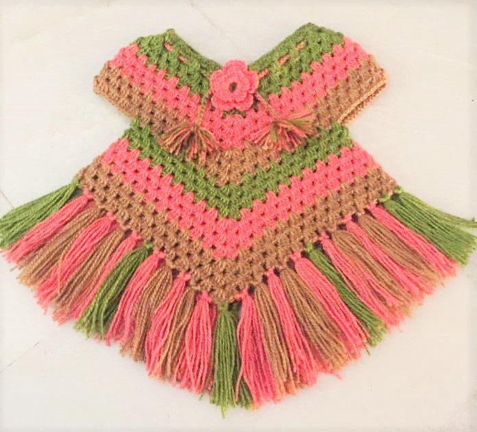Hand Crocheted Poncho for Girls