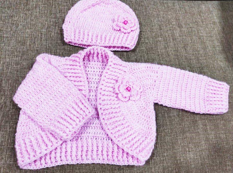 Hand crochet cardigan Pink