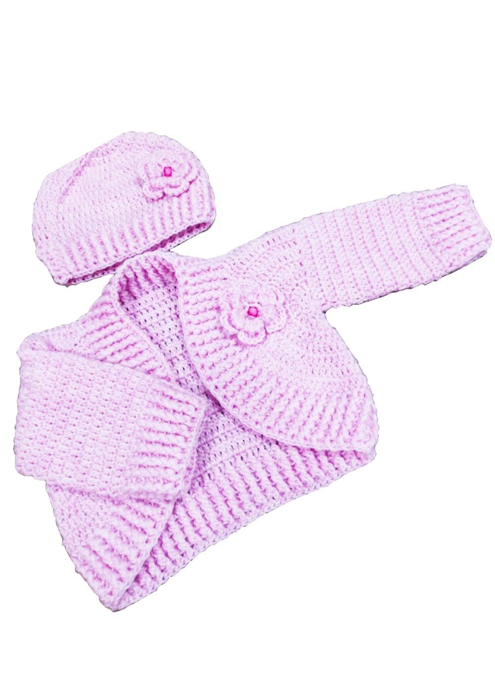 Hand Crocheted Baby Girls' Cardigan Pink