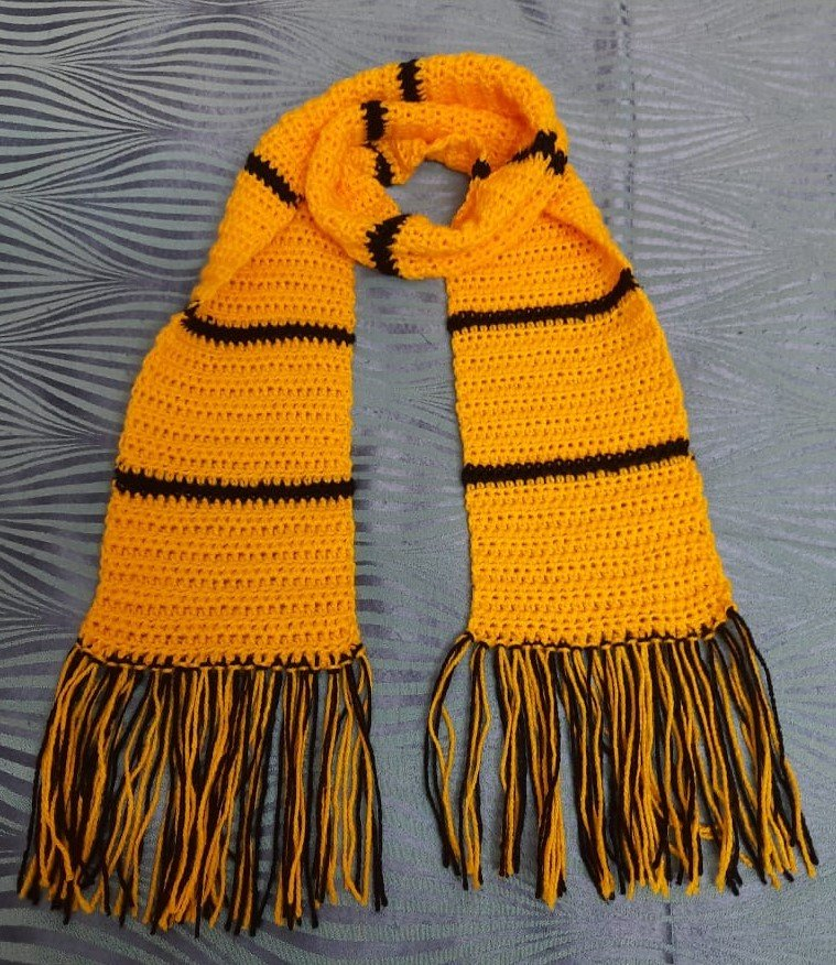 Hand crochet woollen scarf yellow for boys