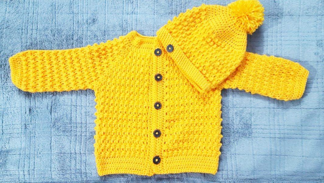 Hand Crochet Mustard Cardigan