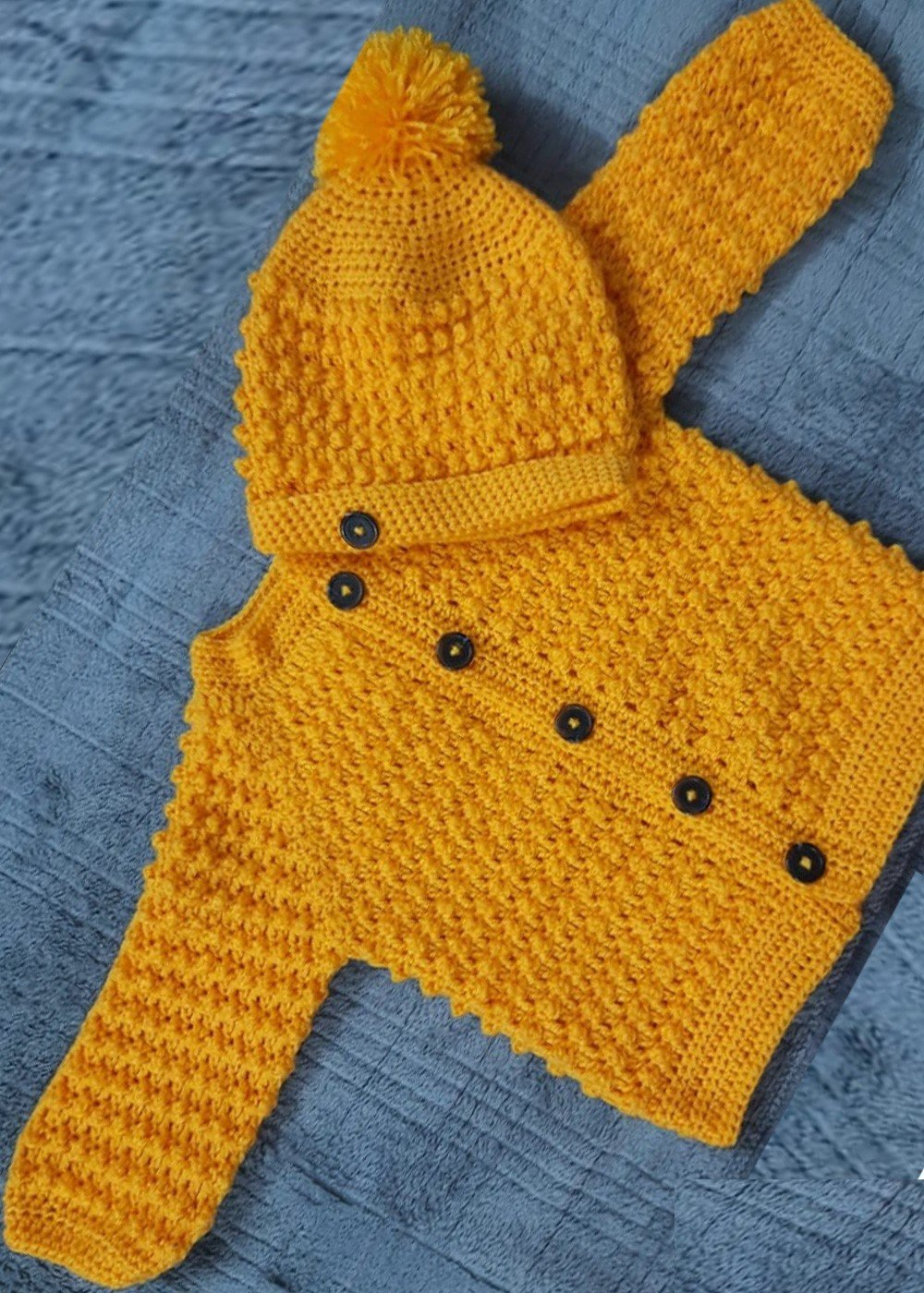 Hand Crochet Mustard Fleece Baby
