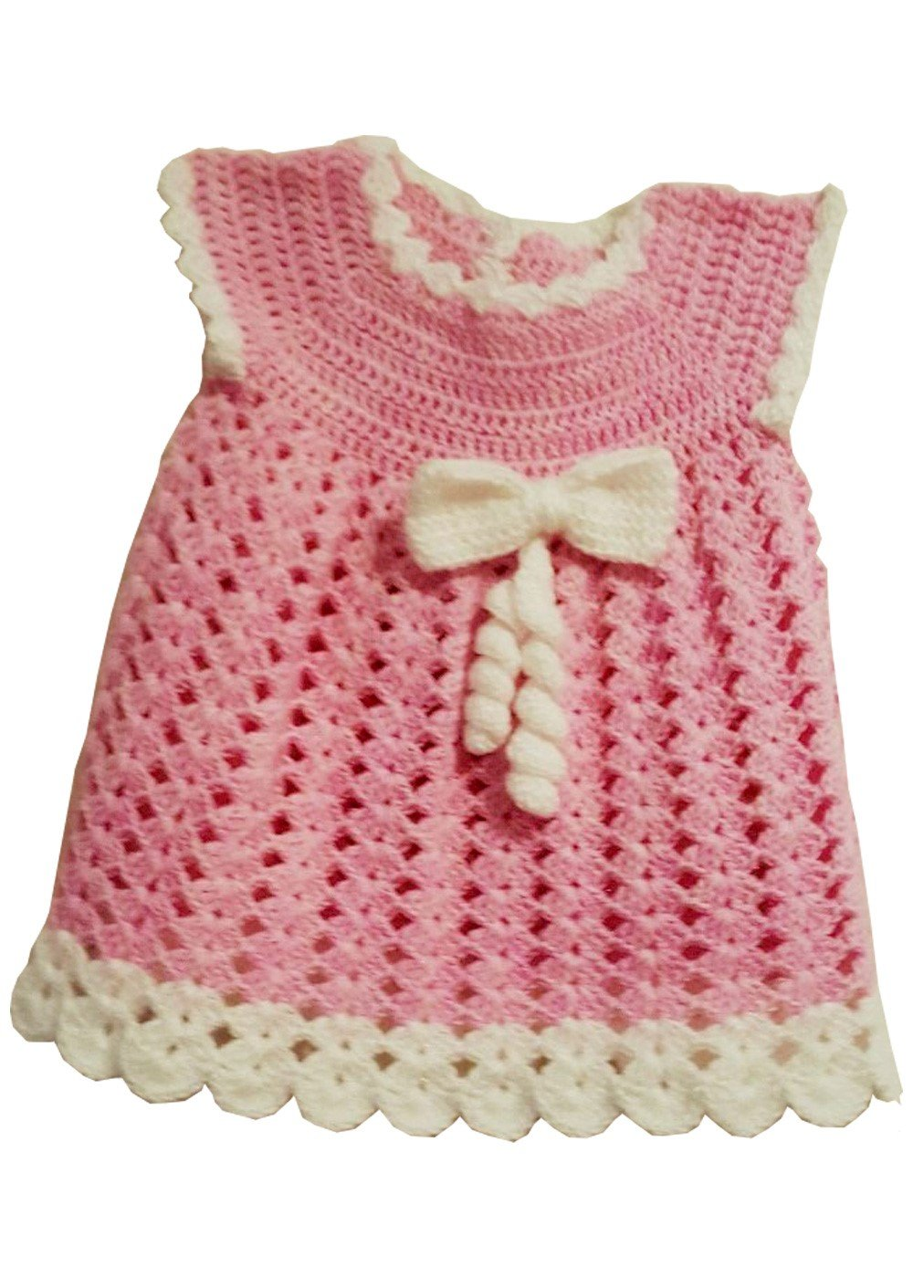 Hand Crochet Baby Dress Pink