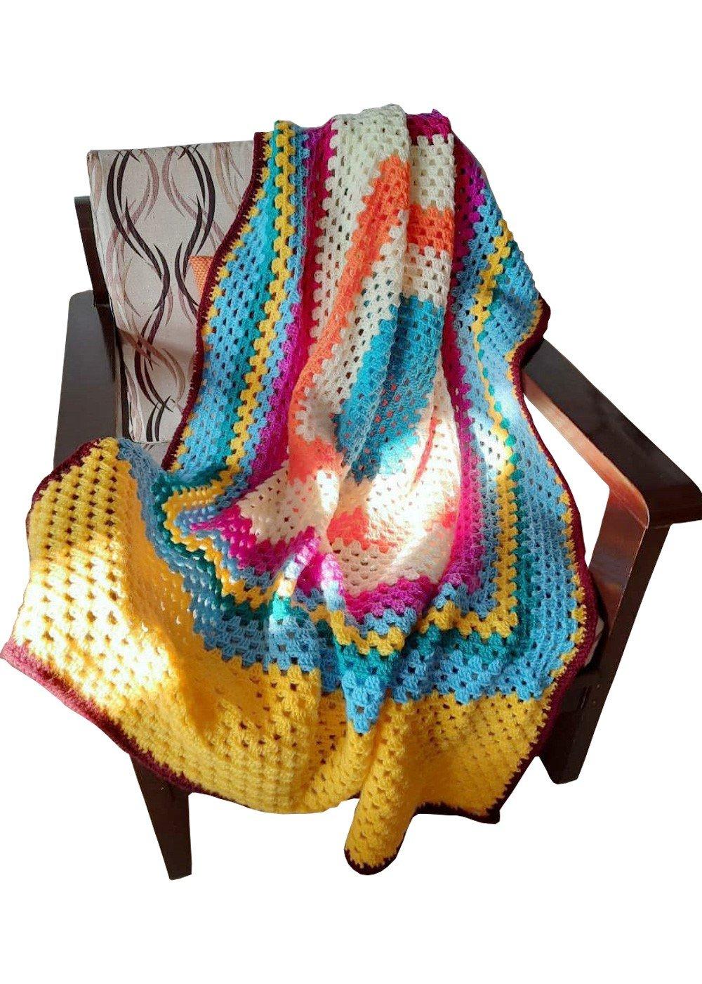 Hand Crochet Square Pattern Blanket