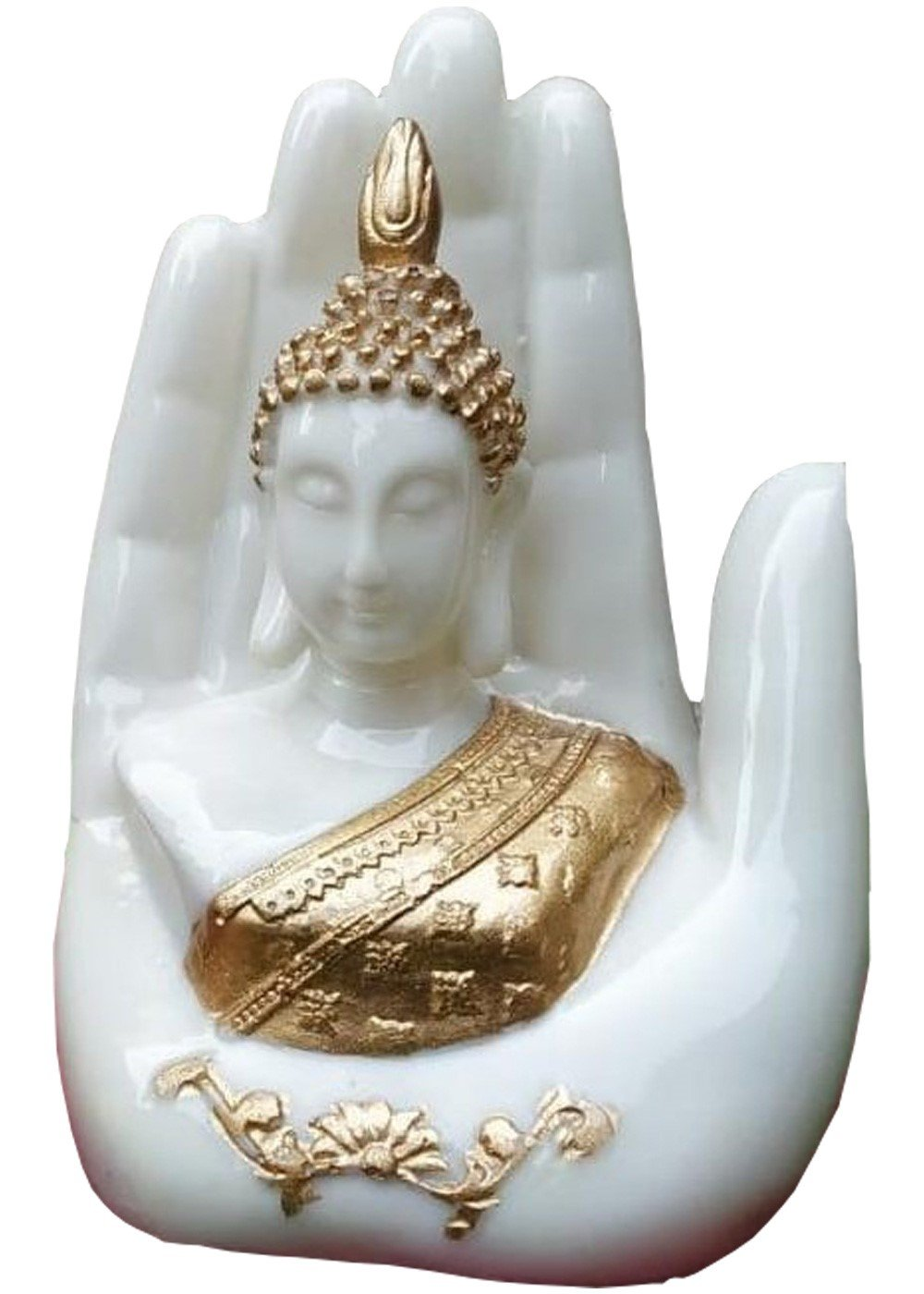 White Buddha Head in the Palm