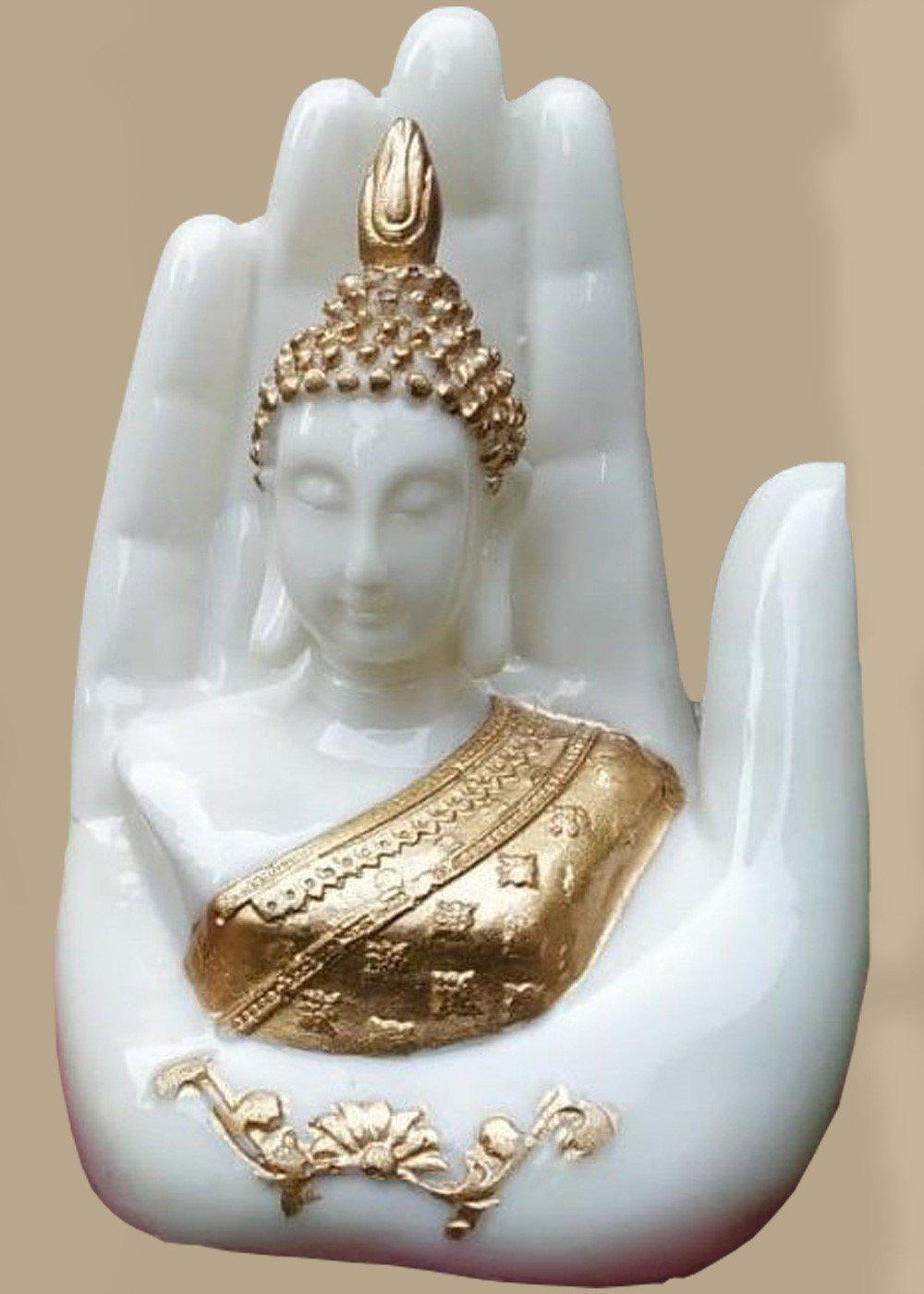 White Buddha Head Figurine in the Palm