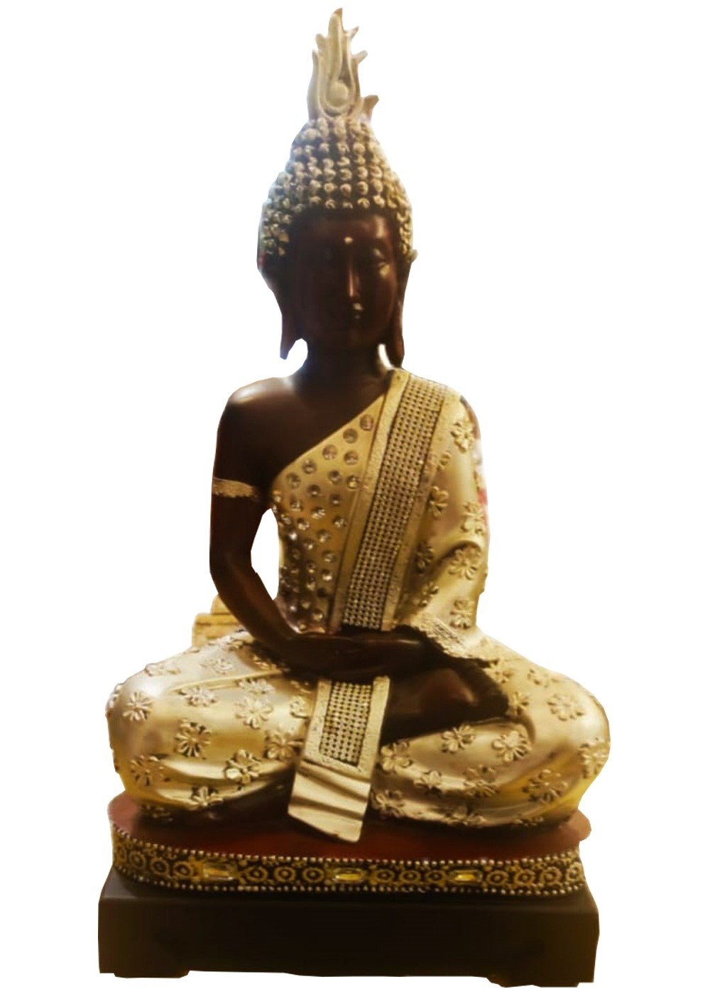 Buddha Statue Golden with wooden base