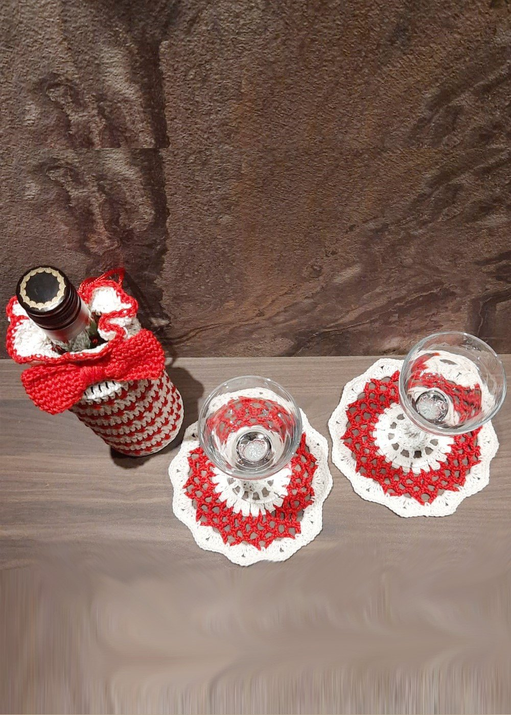 Hand crochet Bow Tie bottle cover with matching coasters