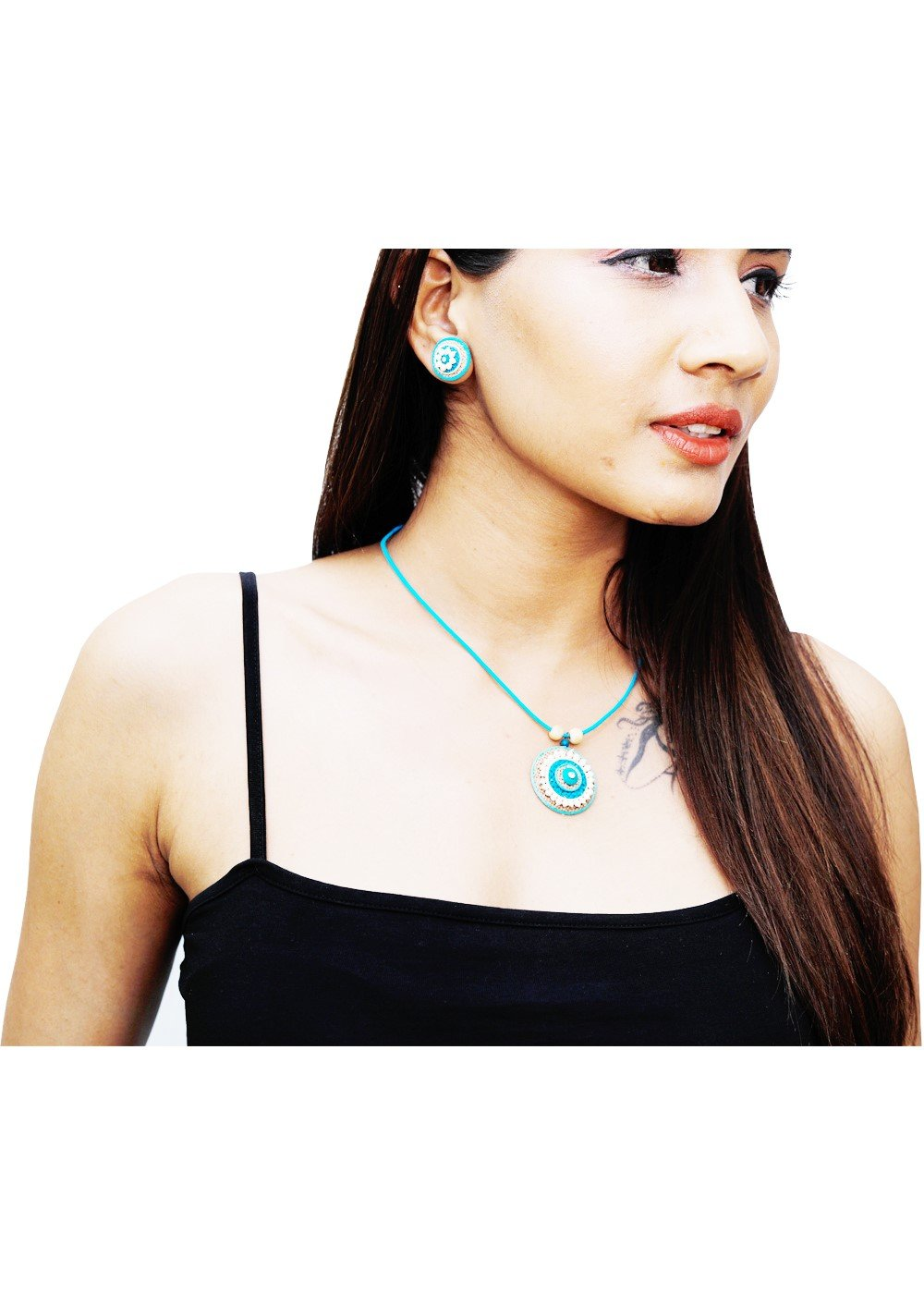 Jute Necklet Turquoise Round
