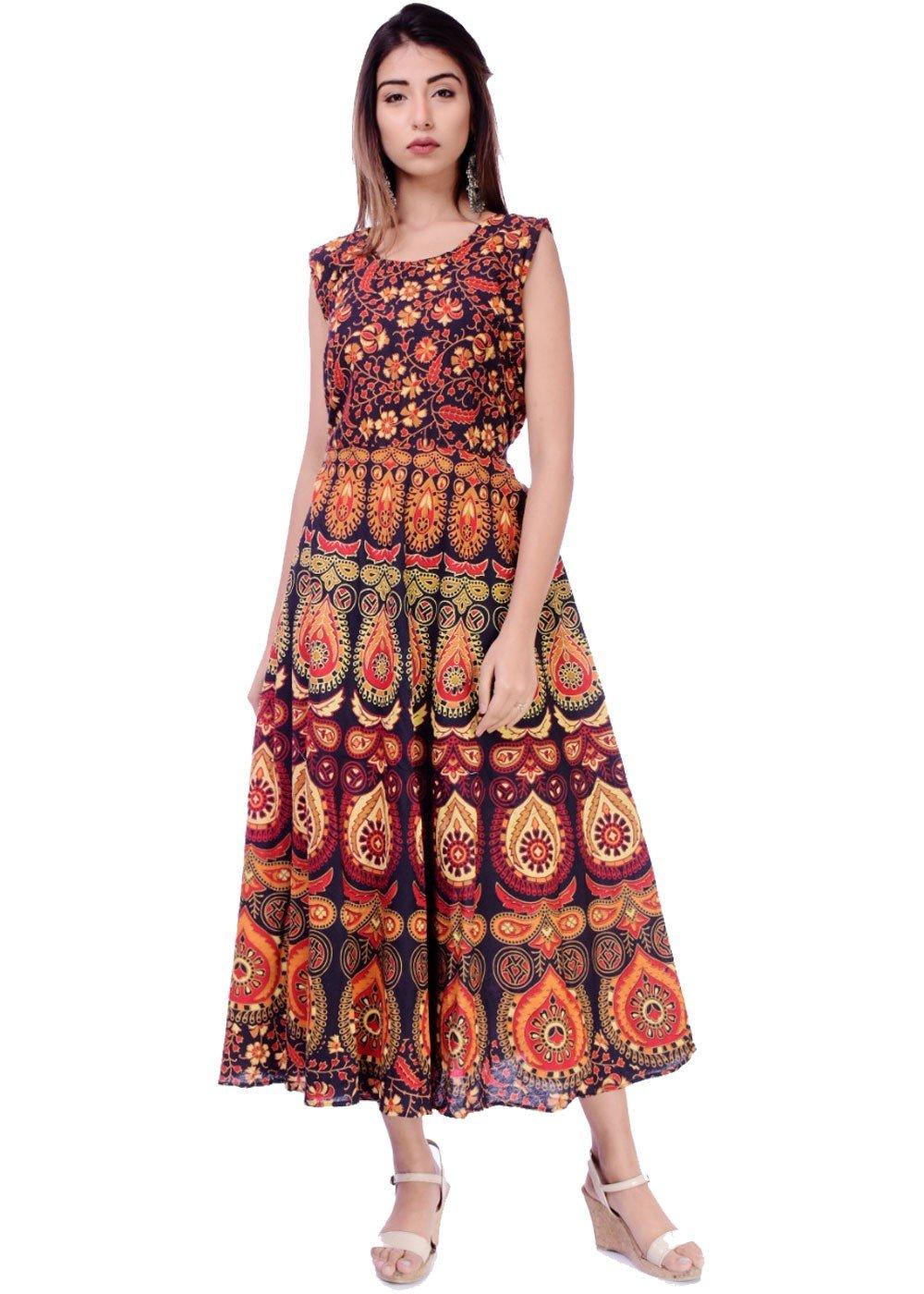 Organic Floral Print Orange Maxi Dress