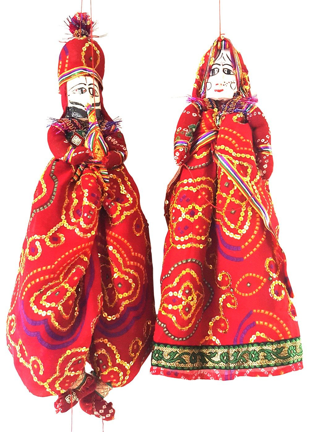Handmade Bride Groom Folk Art Puppets