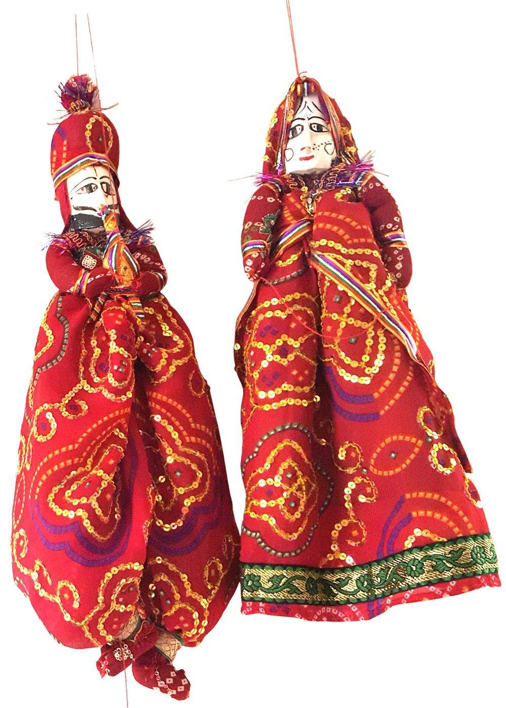Handmade Bride Groom Folk Art Puppets