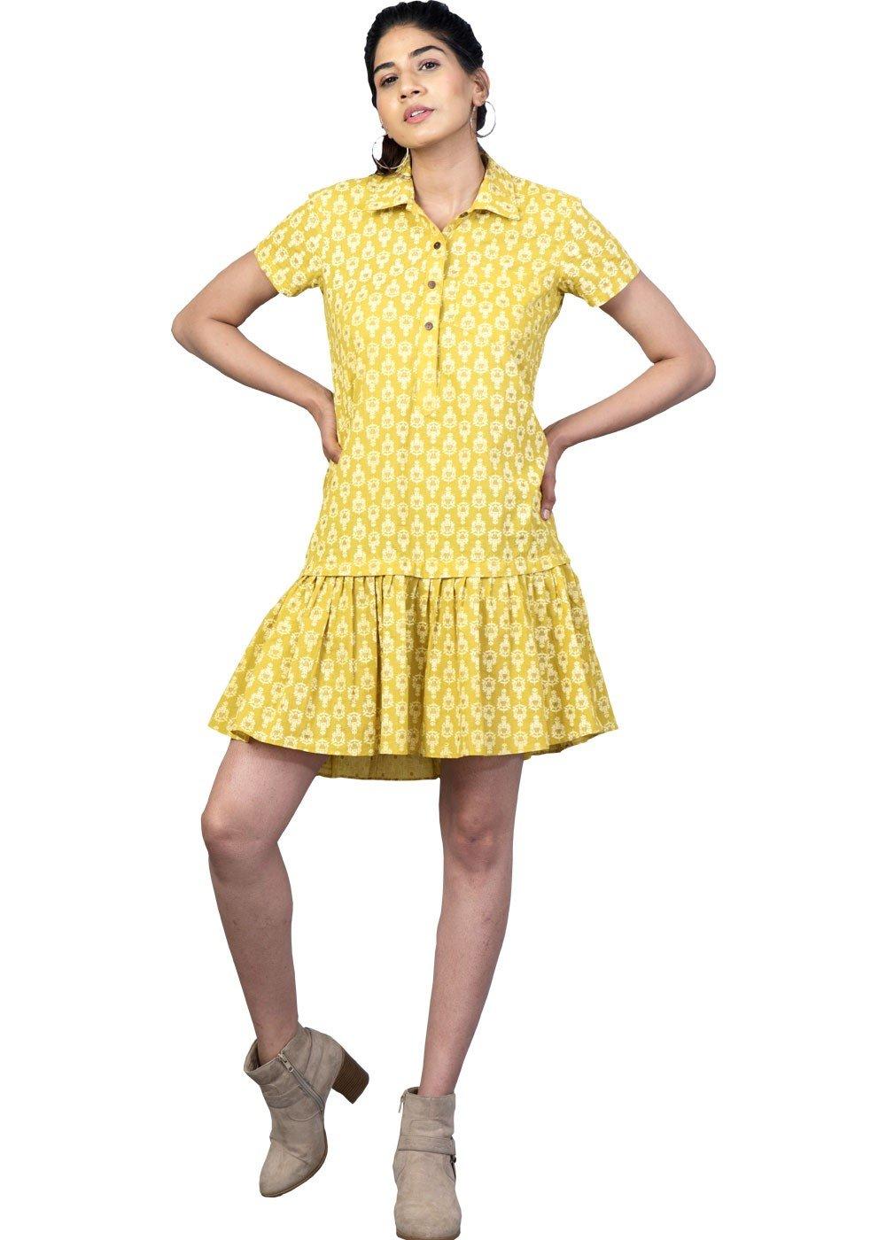 Mustard Print Shirt Dress