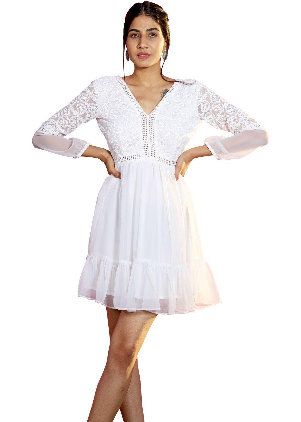 Broderie Chiffon Mini Dress